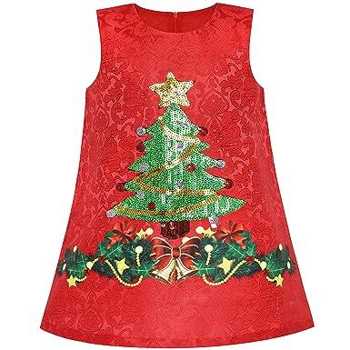 d580e26db93ca Sunny Fashion Robe Fille A-Ligne Noël Arbre Noël Sequin Pétillant Vacances  Partie 3 Ans