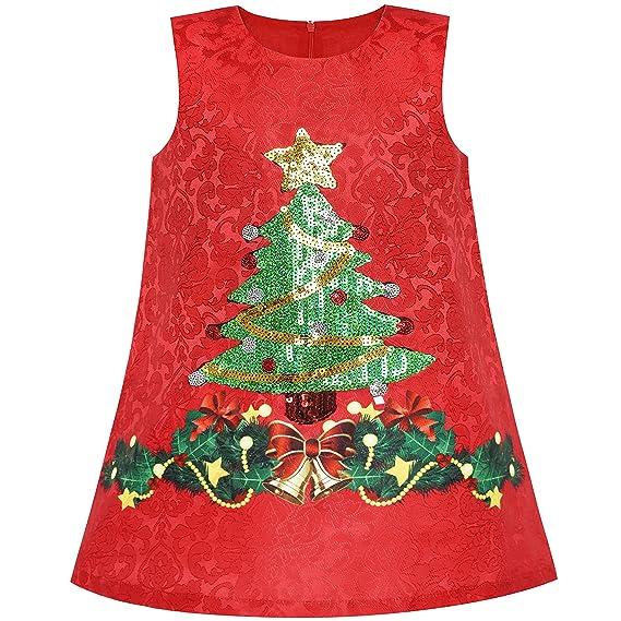 Sunny Fashion Vestido para niña Alinear árbol de Navidad Navidad Lentejuela Espumoso Fiesta Fiesta 3 años