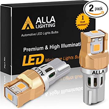 Alla Lighting Miniature 12V T10 Wedge 194/168 Bulbs, Amber Yellow LED Exterior Side Marker, Interior Lights ZS-SMD Replacement Super Bright Upgrade