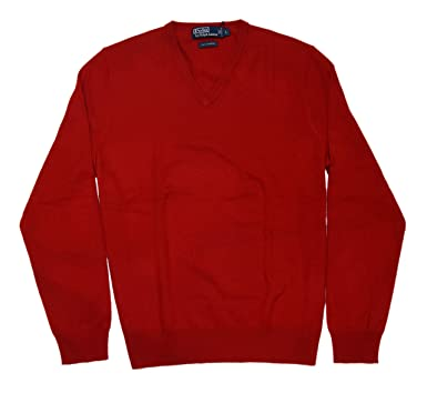 ef4ba054f Ralph Lauren Polo Mens Cashmere V-Neck Pullover Knit Sweater Italian Red  Medium