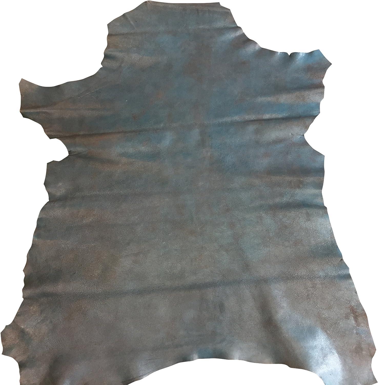 Italian baby Lambskin nappa leather skin hide blue grey 10 Sq.Ft BIG HIDES!