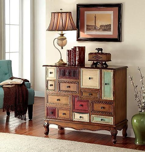 Furniture of America Desree Antique Walnut Colorful Drawer Chest