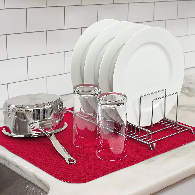 Kitchen Basics Microfiber Dish Drying Mat, Red