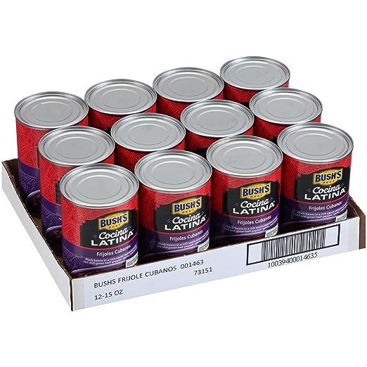 Bushs Best Cocina Latina Cubanos Black Beans, 15 oz (12 cans)