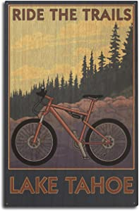 Lantern Press Lake Tahoe, California - Ride The Trails (10x15 Wood Wall Sign, Wall Decor Ready to Hang)