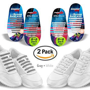 amazon com diagonal one no tie shoelaces 2 pack slip on tieless