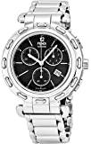 Fendi Selleria Mens Stainless Steel Swiss Chronograph Watch with Selleria Horse Logo on Back - Black Face Analog Quartz Fashion Dress Watch For Men with Interchangeable Band F89031H-BR8653