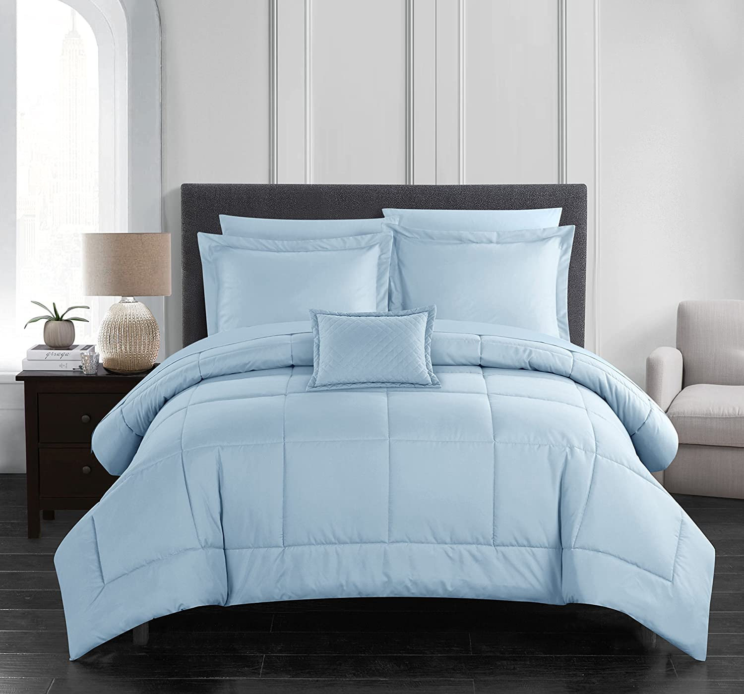 Amazon Com Chic Home Jordyn 6 Comforter Set Pieced Solid Color Stitched Design Complete Bag Bedding Sheets Decorative Pillow Sham Included Twin Blue Home Kitchen