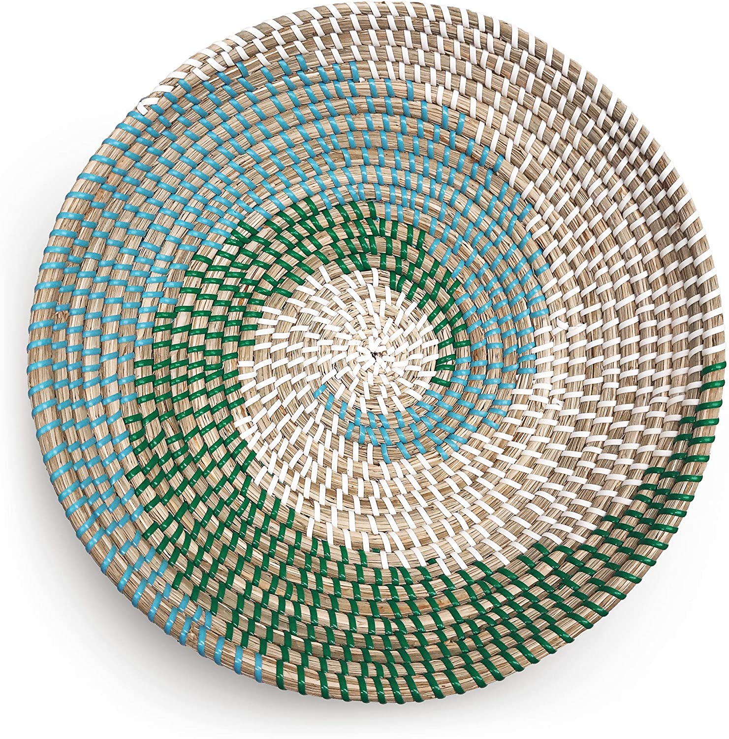 Fauxliage Woven Basket Bowl Wall Hanging | Handmade Decorative Bowl with Hook | Chic Boho Décor, Ideal Housewarming Gift for Her | Green and Blue Seagrass 13 Inches