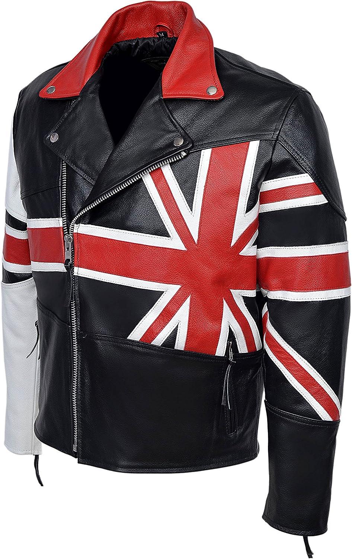 New Mens Union Jack Brando Black Biker Style Motorcycle Real Hide Leather Jacket