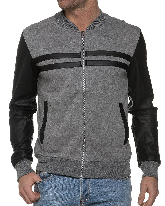 BLZ jeans - Sweat Zip Bi Material Grey And Black