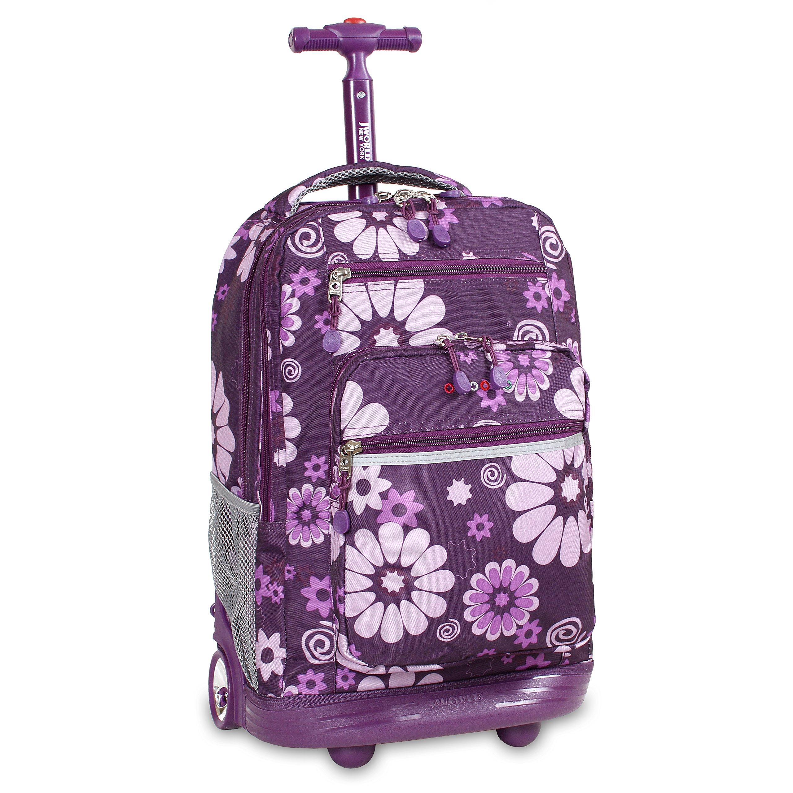 J World New York Sundance Rolling Backpack, Purple Flower, One Size