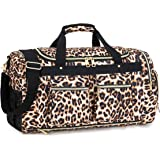BLUBOON Travel Duffel Bag Weekender Overnight Carry-on Luggage with Shoes Compartment for Women Men (Leopard Brown)