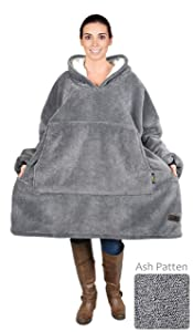 Catalonia Oversized Sherpa Hoodie Sweatshirt Blanket,Super Soft Warm Comfortable Giant Hoody with Large Front Pocket,for Adults Men Women Teens