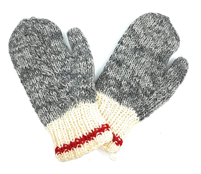 8ca44d08391 Hand Knit Wool Mittens Fleece Lined Made in Nepal (Grey with Red ...