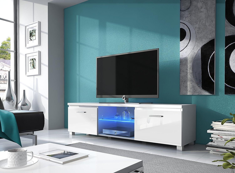 Home innovation – Meuble de télévision LED - Salon-Salle à manger - Blanc Mate et Blanc Laqué - Dimensions: 150x 40 x