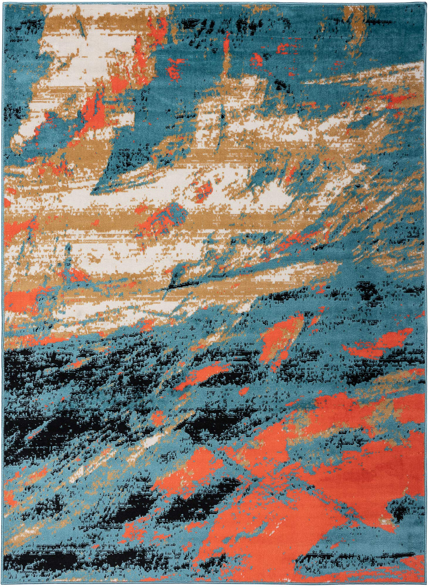Antep Rugs 666BLU Pastel Collection Contemporary