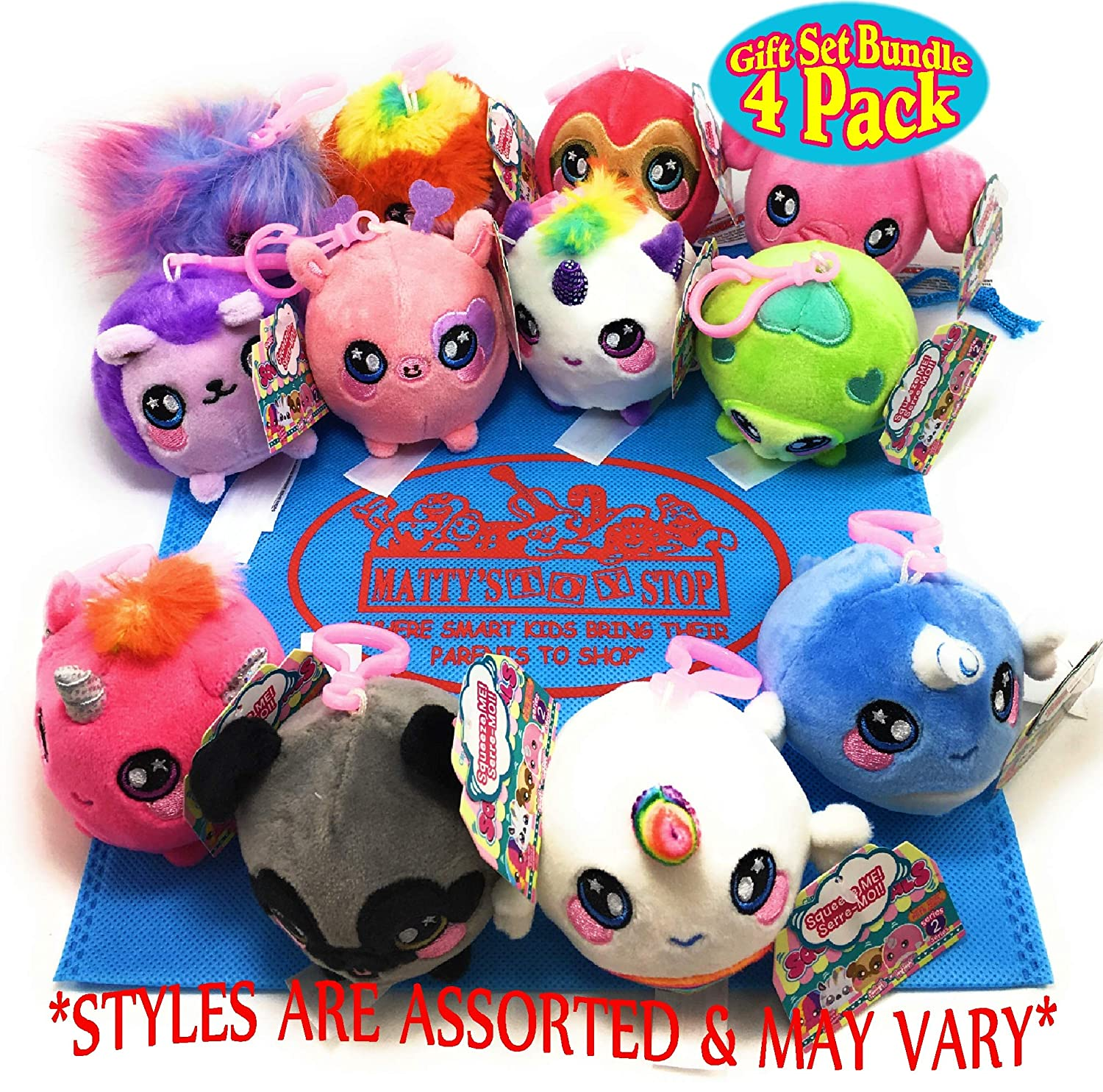 Squeezamals Squishamals Series 2 Scented 3Inch Clip On Surprise Mystery Plush Gift Set Blind Bundle with Exclusive Matty's Toy Stop Storage Bag  4 Pack (Assorted)