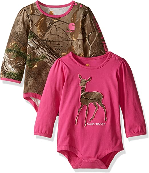 RealTree Camo Pink 2 Pack One Piece Bodysuit Infant Baby Girl 12 Mo