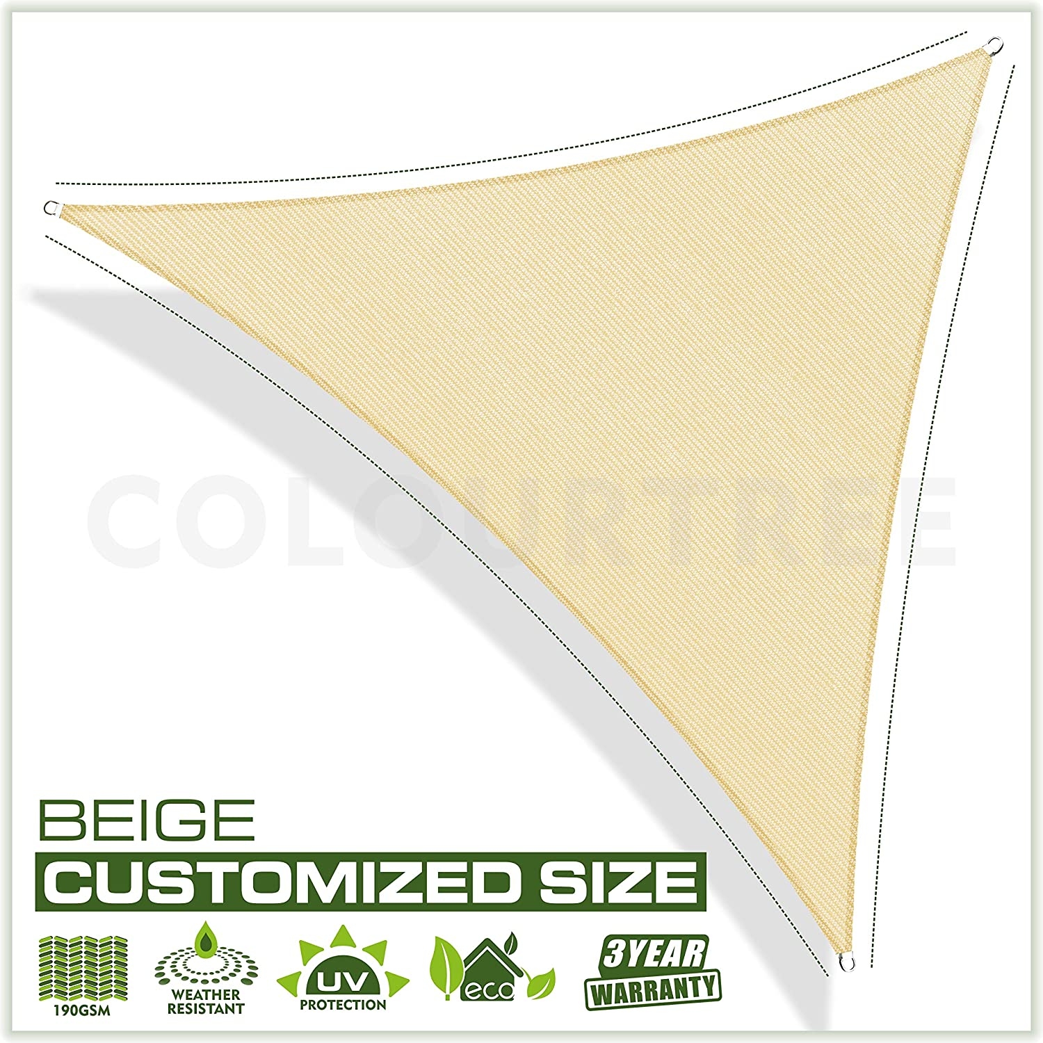 ColourTree 16 x 16 x 16 Beige Sun Shade Sail Triangle Canopy, UV Resistant Heavy Duty Commercial Grade, We Make Custom Size