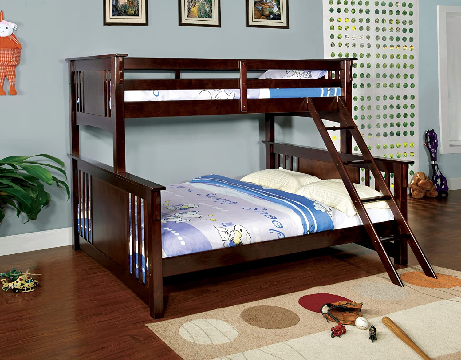 Fantastic Amazon.com: Furniture of America Steven Bunk Bed, Twin Over Queen  DN11