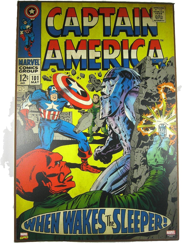 Marvel Captain America 100 Comic Book Wooden Wall Art Poster Plaque 13x19 Comics