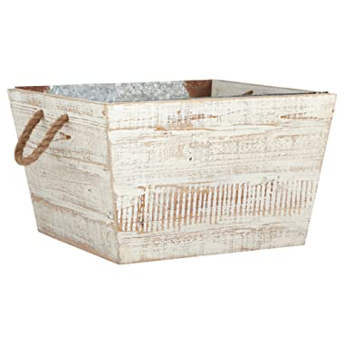 Stone & Beam Modern Farmhouse Wood and Galvanized Metal Decor Storage Bin Basket - 15.75 Inch, White Washed