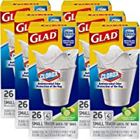 Glad Small Quick-Tie Trash Bags - OdorShield + Antimicrobial Protection 4 Gallon White Trash Bag, Scented - 26 Count…