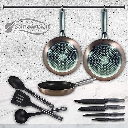 San Ignacio Pixel Pro Cooper Set de 3 sartenes + 4 Cuchillos 3 Utensilios de Cocina
