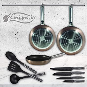 San Ignacio Pixel Pro Cooper Set de 3 sartenes + 4 Cuchillos 3 Utensilios de Cocina: Amazon.es: Hogar