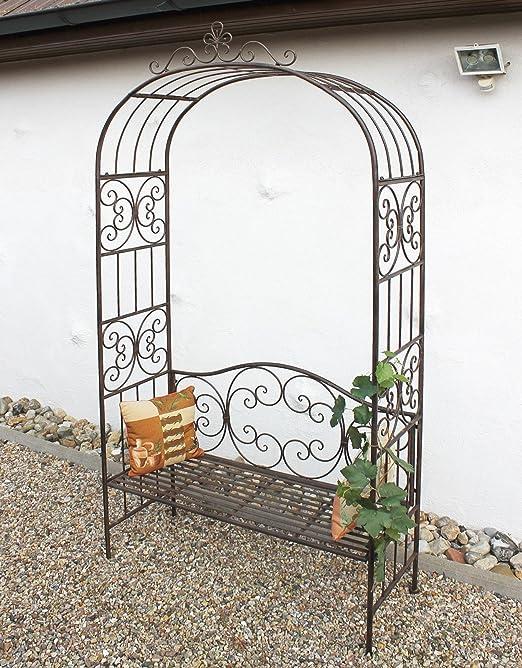 DanDiBo Arcade rosier avec banc 120852 en m/étal 250cm Banc de jardin Espalier Pergola Support pour plantes grimpantes