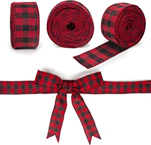 """Besti 3 Rolls Plaid Ribbon - Black and Red Buffalo Check Natural Burlap for Crafts and Decorations - Great for Gift Wrapping, Christmas Tree Decor, Wreaths and Baskets - 1.34"""" x 315"""""""