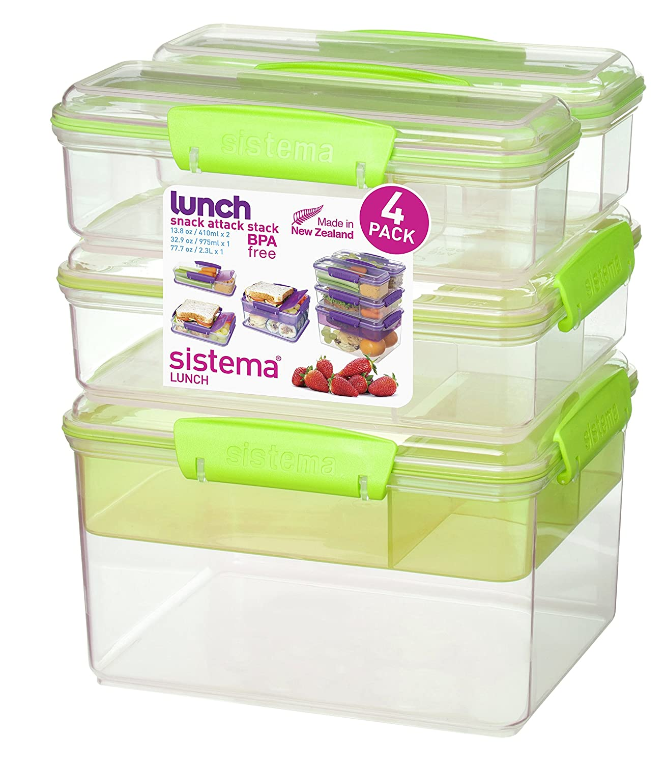 Amazon.com | Sistema Lunch Collection Snack Attack Stack Food Storage  Containers, Assorted Colors, Set Of 4: Flatware Sets