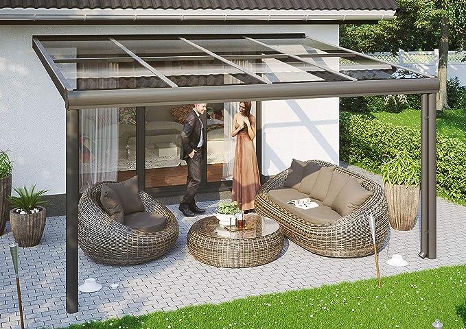 SKAN Modena - Cubierta para terraza (Madera, 434 x 357 cm, Aluminio), Color Gris: Amazon.es: Jardín