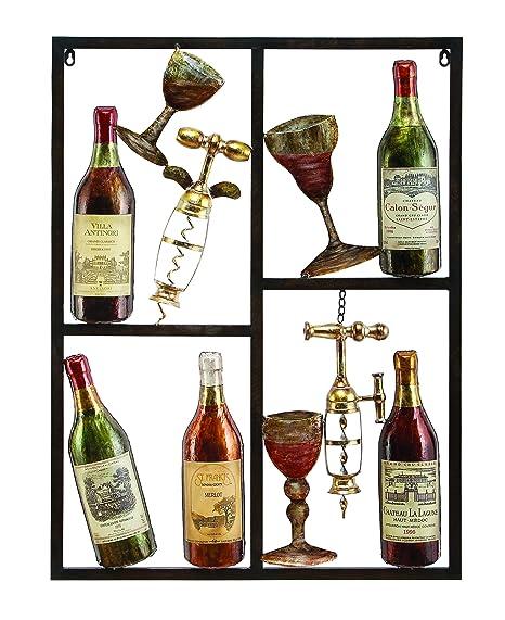 Wine Time Wine Metal Wall Art Decor Sculpture - 13866: Amazon.co.uk ...