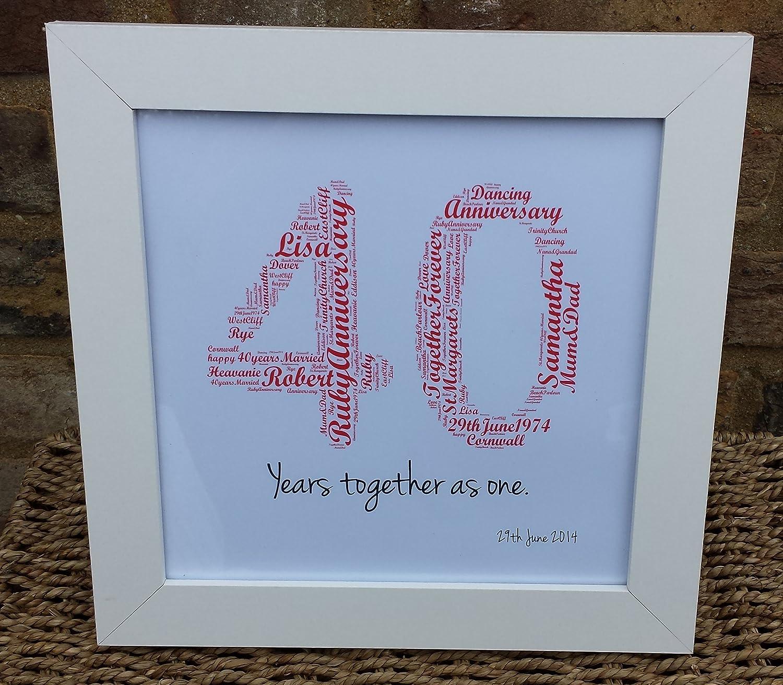 personalisiert zum 40. Hochzeitstag Wort Kunst \