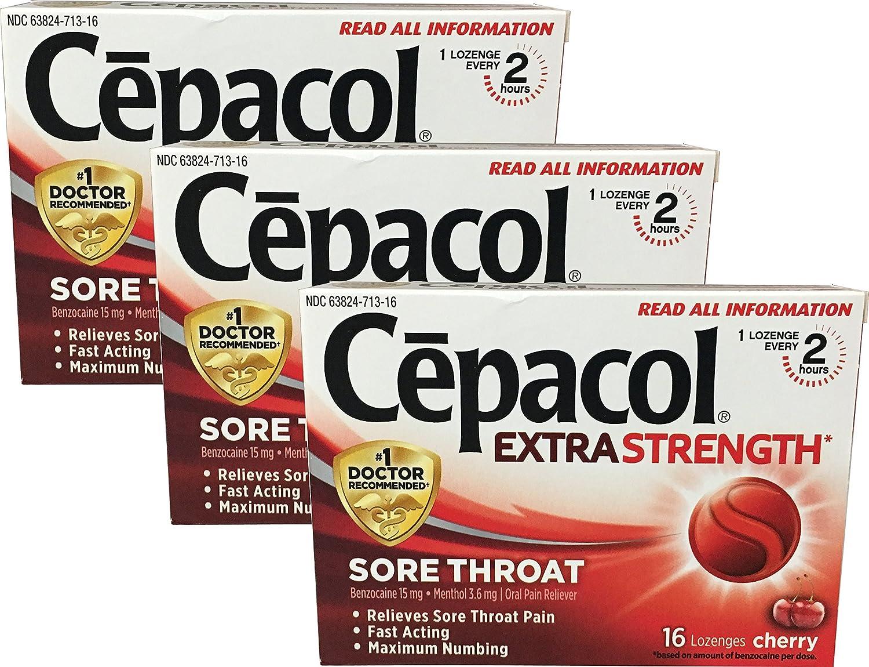 Cepacol Extra Strength Sore Throat, 16 Lozenge, 3-pack, Cherry : Beauty