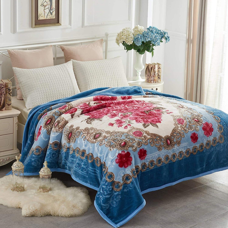 JYK Heavy Korean Mink Fleece Blanket – 2 Ply Reversible 520GSM Silky Soft Plush Warm Blanket for Autumn Winter (Queen, Flower/Light Blue)
