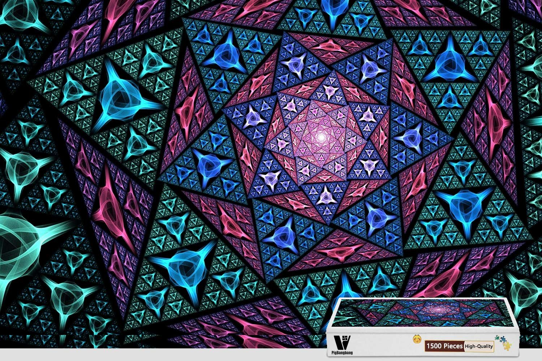 【オンラインショップ】 pigbangbang、34.4 X 22.6インチ、木製 B07FRZMPQ3 pigbangbang、34.4 – AbstractoフラクタルMosaico三角形 – 1500ピースジグソーパズル – B07FRZMPQ3, ブランドリサイクル マルク:3468e41d --- 4x4.lt