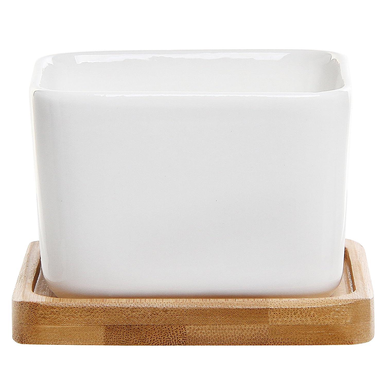 Small White Plant Pots Part - 25: Amazon.com : Modern Decorative Small White Square Ceramic Succulent Plant  Pot W/ Bamboo Draining Tray - MyGift : Garden U0026 Outdoor