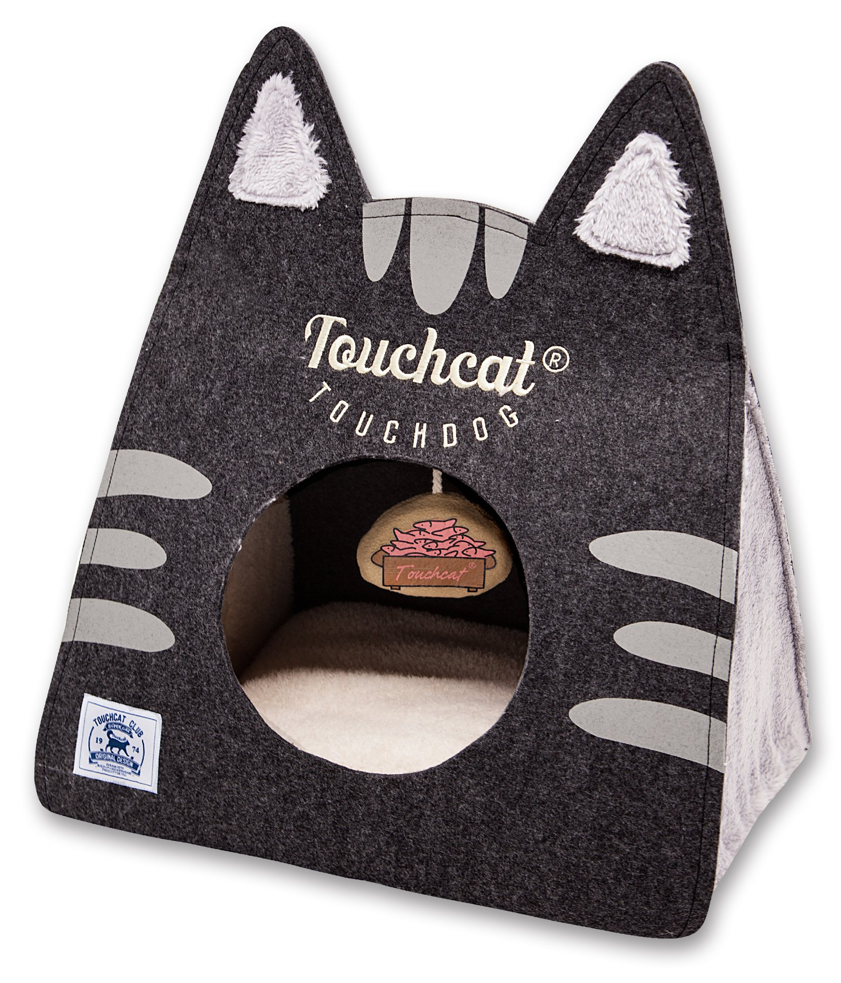 Touchcat Kitty Ears' Travel On-The-Go Folding Designer Fashion Pet Cat Bed House w/Hanging Teaser Toy, Large, Black