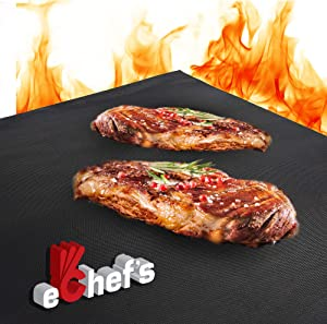 BBQ Grill Mat, Baking Mat - 2 Pack – 15.75x13 Inches | Non-Stick | 0.39mm Thick Heavy Duty Grill Accessory for Heat up to 600 Degrees – Reusable - Dishwasher Safe - PFOA Free - FDA Approved