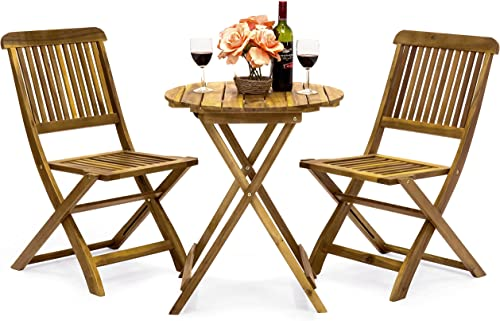 Best Choice Products 3-Piece Acacia Wood Folding Patio Bistro Set for Backyard, Balcony, Porch, Deck w 2 Chairs, Round Coffee Table, Natural