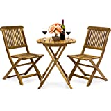 Best Choice Products 3-Piece Acacia Wood Folding Patio Bistro Set for Backyard, Balcony, Porch, Deck w/ 2 Chairs, Round…