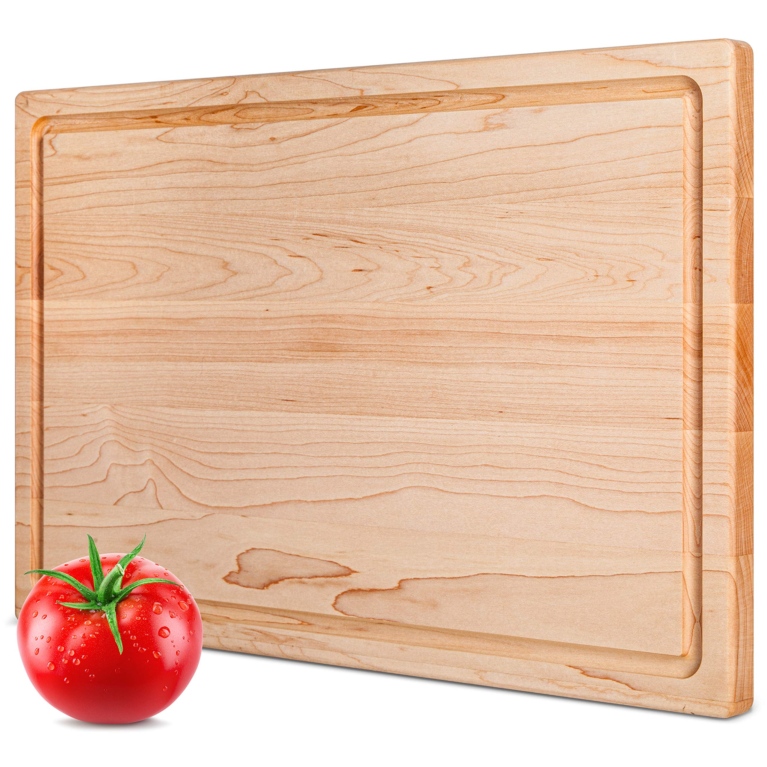 Maple Cutting Board by Mevell - Premium Large Wood Cutting Boards for Kitchen Great for Charcuterie & Cheese -Reversible 17x11 with Juice Groove, Big Canadian Hardwood Chopping and Carving Block