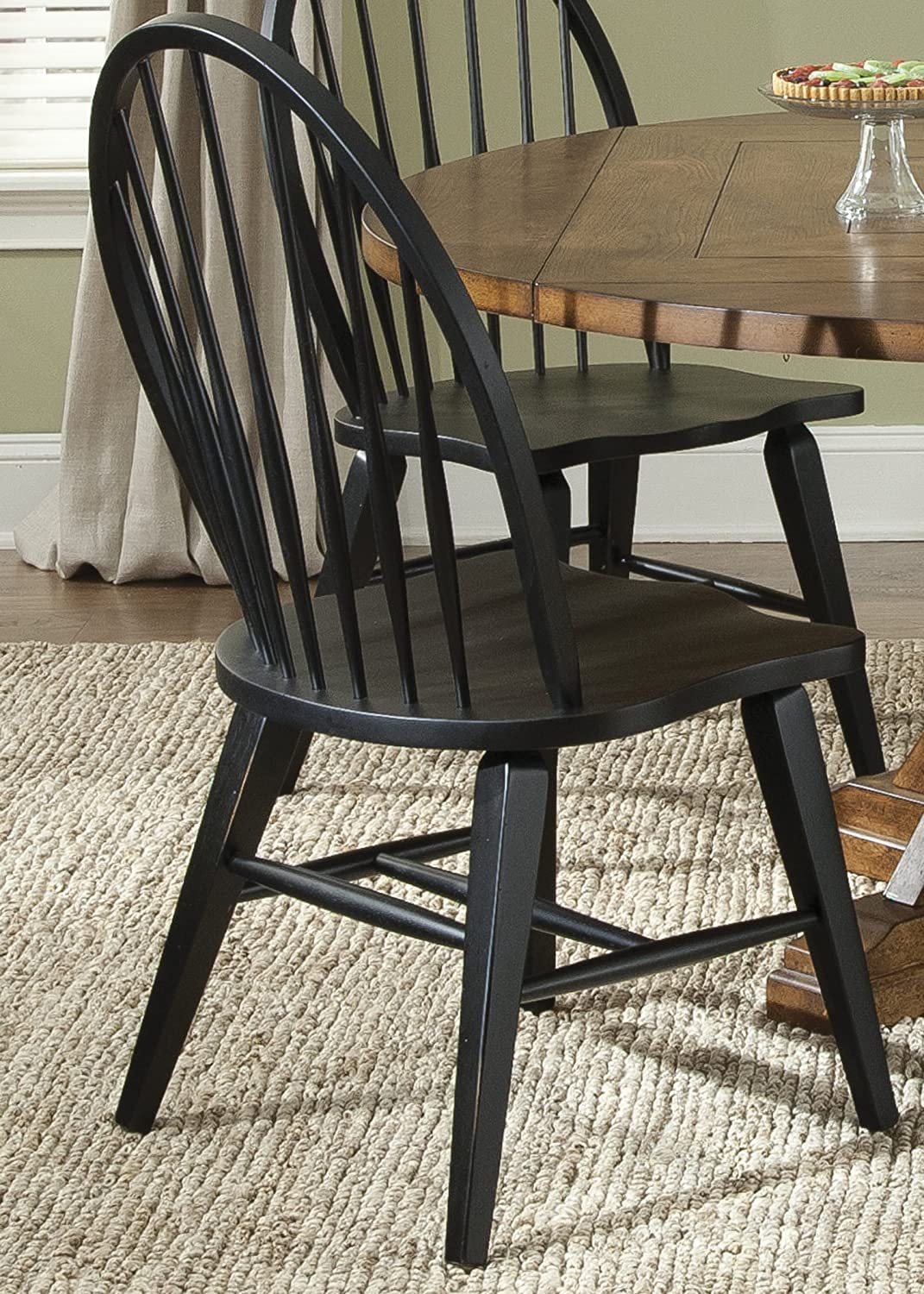 Amazon.com   Liberty Furniture Hearthstone Windsor Back Dining Side Chair  In Black   Chairs