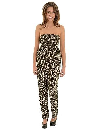 e4c6ae838407 Amazon.com  Womens Long Pants Romper with Pockets Strapless Jumpsuit Black  Cream Chevron  Clothing