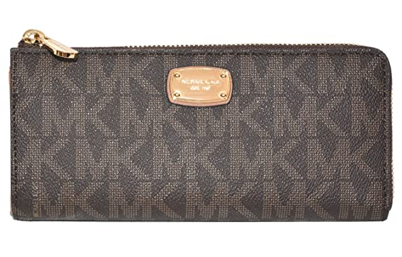 dc65cf0e1530 Michael Kors Jet Set Large Three Quarter Zip Around Wallet (Brown   Acorn)