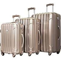 kensie Women's Alma Hardside Spinner Luggage, Pale Gold, 3-Piece Set (20/24/28)