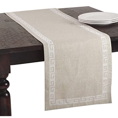 SARO LIFESTYLE 71510 Calypso Collection Stitched Greek Key Design Table Runner, 16 X70  Oblong, White